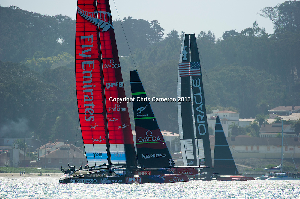 Emirates Team New Zealand and Oracle Team USA, race 17.  America's Cup 34. 24/9/2013