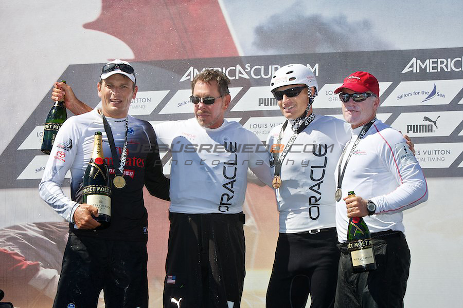 AC World Series,Cascais,Portugal.Fleet racing final , winner ENTZ,second Artemis,third oracle Racing 4.From lefto to right,Dean Barker,Larry Ellison,James Spithill,Terry Hutchingson.