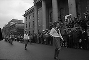 Sinn Fein (Provo) Dublin Parade.   K22..1976..25.04.1976..04.25.1976..25th April 1976..Sinn Fein held an Easter Rising Commemorative  parade..The parade started at St Stephens Green, Dublin and proceeded through the streets to the G.P.O.in O'Connell Street, the scene of the centre of the 1916 uprising..An Image of one of the groups taking part in the parade.