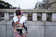 JANUARY 09: Japanese women who celebrate turning 20 years old, clad in Japanese kimono near Meiji Jingu shrine in Tokyo, on Coming of Age Day national holiday, Monday, Jan. 9, 2017. While many festive ceremonies are held in various venues throughout Japan, The day is marked by those who turned 20 in the past year after April 1 or will be 20 before March 31 this year. 09/01/2017-Tokyo, JAPAN