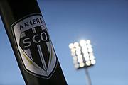 Logotype illustration of SCO Angers during the French championship L1 football match between SCO Angers and Bordeaux on August 6th, 2017 at Raymond-Kopa stadium, France - PHOTO Stéphane Allaman / ProSportsImages / DPPI