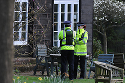 © Licensed to London News Pictures. 08/04/2014<br /> Peaches Geldof Death.<br /> police at the back of the property.<br /> Police outside the home of Peaches Geldof this morning (08.04.2014) after she died yesterday at the age of 25 years.<br /> Photo credit :Grant Falvey/LNP