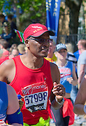 London. United Kingdom. 2014 London Marathon.  Narrow Street Limehouse, East London. Athletics 12:56:22  Sunday  13/04/2014  [Mandatory Credit; Peter SPURRIER/ Intersport Images],