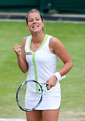 26.06.2012, Wimbledon, London, GBR, WTA, The Championships Wimbledon, im Bild Barbora Zahlavova Strycova (CZE) celebrates winning a game during day two of the WTA Tour Wimbledon Lawn Tennis Championships at the All England Lawn Tennis and Croquet Club, London, Great Britain on 2012/06/26. EXPA Pictures © 2012, PhotoCredit: EXPA/ Propagandaphoto/ David Rawcliff..***** ATTENTION - OUT OF ENG, GBR, UK *****
