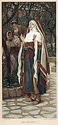 The Magnificat: Virgin Mary accepting the role that God has chosen for her, and saying 'My soul doth magnify the Lord ?'. Illustration from  JJ Tissot 'The Life of our Lord Jesus Christ' London c1890. Oleograph