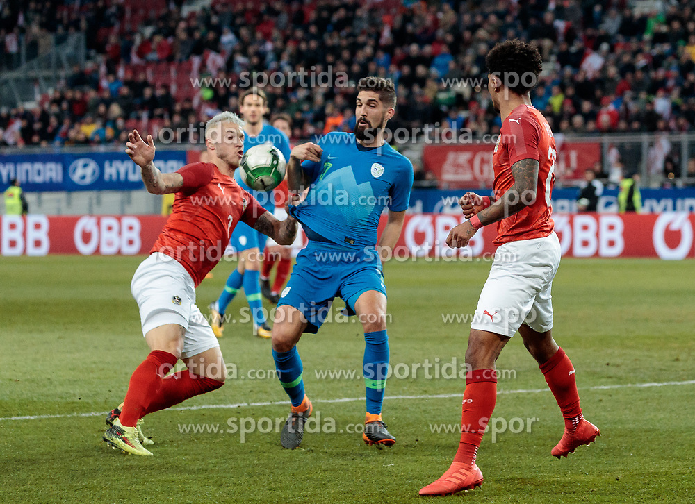 23.03.2018, Wörthersee Stadion, Klagenfurt, AUT, Testspiel, Österreich vs Slowenien, im Bild v.l. Marko Arnautovic (AUT) gegen Miha Mevlja (SLO) // during the international football friendly match between Austria and Slovenia at the Wörthersee Stadion in Klagenfurt, Austria on 2018/03/23. EXPA Pictures © 2018, PhotoCredit: EXPA/ Johann Groder