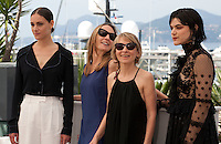 Actress Ariane Labed, Directors Delphine Coulin and Muriel Coulin and actress Soko at the The Stopover (Voir Du Pays) film photo call at the 69th Cannes Film Festival Wednesday 18th May 2016, Cannes, France. Photography: Doreen Kennedy