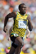 Usain Bolt from Jamaica competes in men's 200 meters qualification during the 14th IAAF World Athletics Championships at the Luzhniki stadium in Moscow on August 16, 2013.<br /> <br /> Russian Federation, Moscow, August 16, 2013<br /> <br /> Picture also available in RAW (NEF) or TIFF format on special request.<br /> <br /> For editorial use only. Any commercial or promotional use requires permission.<br /> <br /> Mandatory credit:<br /> Photo by &copy; Adam Nurkiewicz / Mediasport