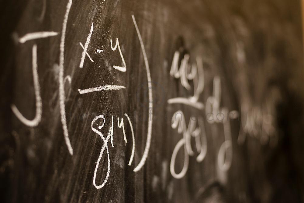 Pizarra con ecuacion. Facultad de Matemáticas de la Pontificia Universidad de Católica de Chile. Santiago, Chile. 06-01-2012 (©Alvaro de la Fuente/TRIPLE)
