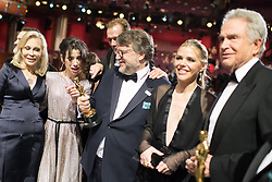 March 4, 2018 - Hollywood, California, U.S. - GUILLERMO DEL TORO (C), winner of the Oscar for Best motion picture of the year for work on The Shape of Water, poses with Faye Dunaway, Sally Hawkins, and Warren Beatty during the live ABC Telecast of The 90th Oscars at the Dolby Theatre in Hollywood. (Credit Image: ? Todd Wawrychuk/AMPAS via ZUMA Wire/ZUMAPRESS.com)