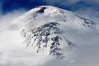 Russia, Caucasus. Elbrus, highest mountain of Europe, 5642 m asl, surrounded by clouds
