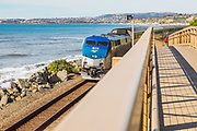 San Clemente Beach Trail Bridge and Amtrak Train Passing By