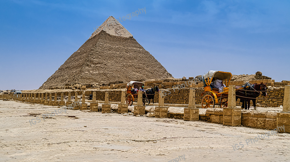 Horse-drawn carriages in front of the Pyramid of Khafre
