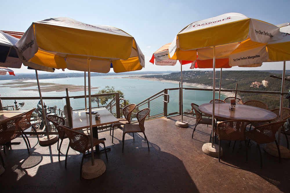 View for the Oasis Restaurant overlooking Lake Travis which is at historically low levels.  The Drought in Texas will have long term environmental and finical impact.