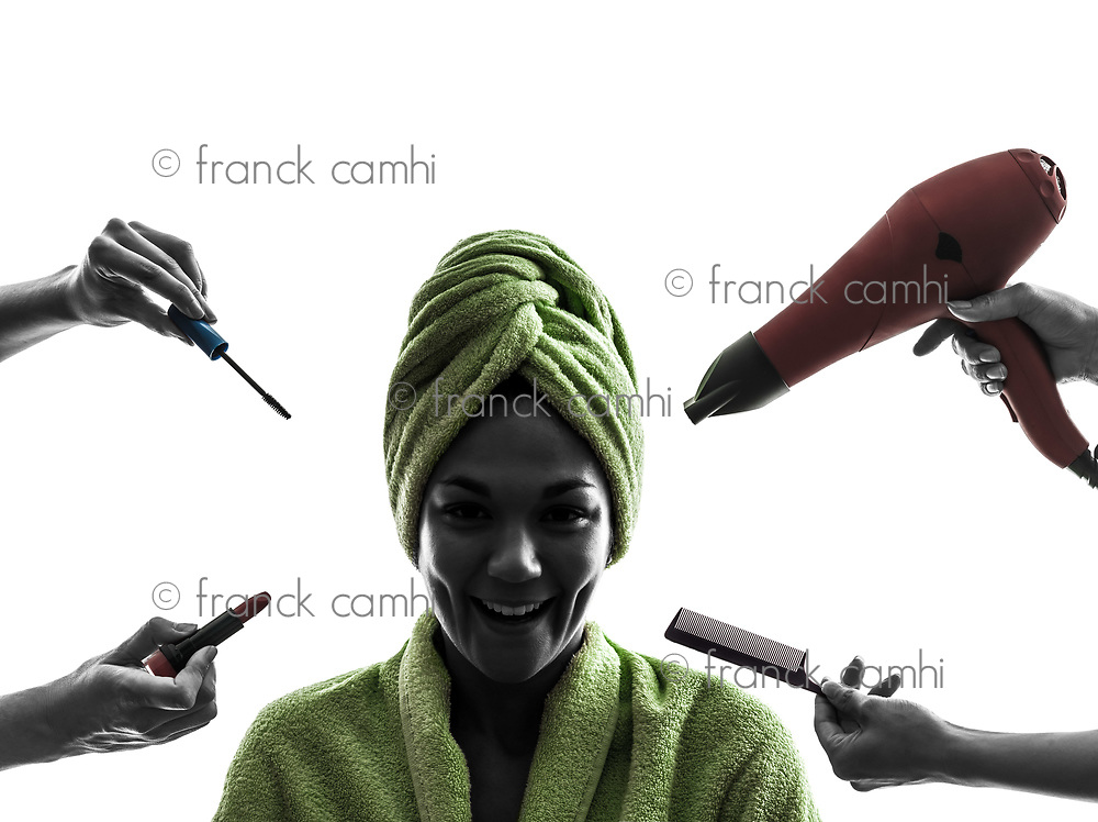 one woman beauty care concept in silhouette on white background