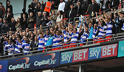 QPR team celebrate at full time with the trophy.   - Photo mandatory by-line: Alex James/JMP - Tel: Mobile: 07966 386802 24/04/2014 - SPORT - FOOTBALL - wembley - London -  Derby County V Queens Park Rangers - Play off final