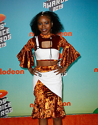 March 23, 2019 - Los Angeles, CA, USA - LOS ANGELES, CA - MARCH 23: Riele Downs attends Nickelodeon's 2019 Kids' Choice Awards at Galen Center on March 23, 2019 in Los Angeles, California. Photo: CraSH for imageSPACE (Credit Image: © Imagespace via ZUMA Wire)
