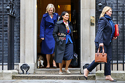 © Licensed to London News Pictures. 15/11/2016. London, UK. Justice Secretary LIZ TRUSS, International Development Secretary PRITI PATEL and Culture, Media and Sport Secretary KAREN BRADLEY attend a cabinet meeting in Downing Street on Tuesday, 15 November 2016. Photo credit: Tolga Akmen/LNP