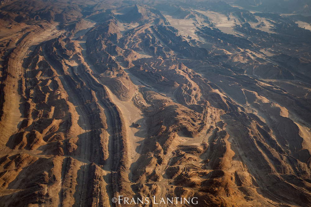 Desert landscape near Ugab river, Damaraland (aerial), Namibia