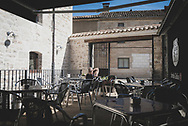 Matt, from England, takes a break from his Camino at the cafe attached to La Casa de Beli, an albergue in the village of Taradjos, just a few kilometers outside Burgos. (June 14, 2018).<br /> <br /> DAY 18: BURGOS TO TARDAJOS -- 11 KM