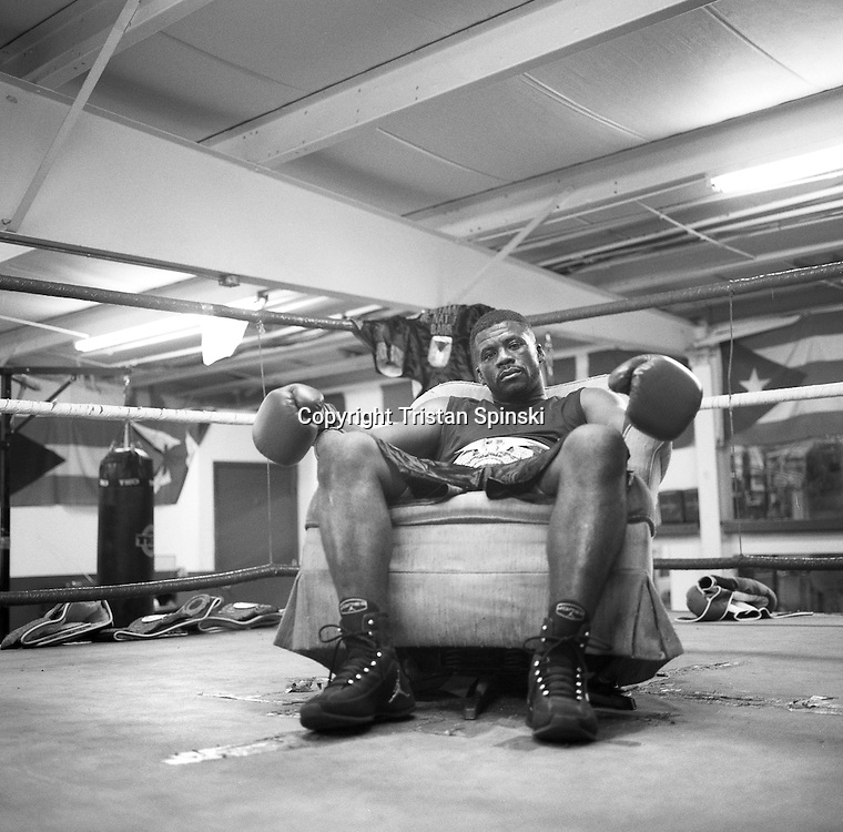 """Freeman """"The Natural"""" Barr, a father,  electrician and former middleweight world champion, sits for a portrait in SJ Boxing Gym in downtown Fort Myers in January of 2010."""