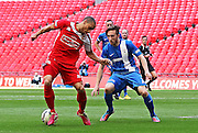 North Shields Denver Morris on the ball during the FA Vase Final between Glossop North End and North Shields at Wembley Stadium, London, England on 9 May 2015. Photo by Phil Duncan.