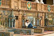 SPAIN, ANDALUCIA, SEVILLE Plaza de Espana, tiled benches