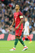 Portugal forward, Nani (17) watching a shot go over the bar during the Friendly International match between England and Portugal at Wembley Stadium, London, England on 2 June 2016. Photo by Matthew Redman.