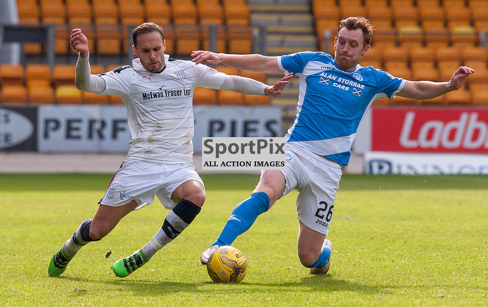 #7 Tom Hateley (Dundee) and #26 Liam Craig (St Johnstone) - St Johnstone v Dundee - Ladbrokes Premiership - 23 October 2016 - © Russel Hutcheson | SportPix.org.uk