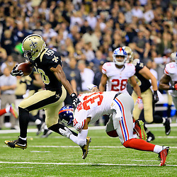 Nov 1, 2015; New Orleans, LA, USA; New Orleans Saints wide receiver Brandin Cooks (10) catches a touchdown past New York Giants defensive back Trevin Wade (31) during the first quarter of a game at the Mercedes-Benz Superdome. Mandatory Credit: Derick E. Hingle-USA TODAY Sports