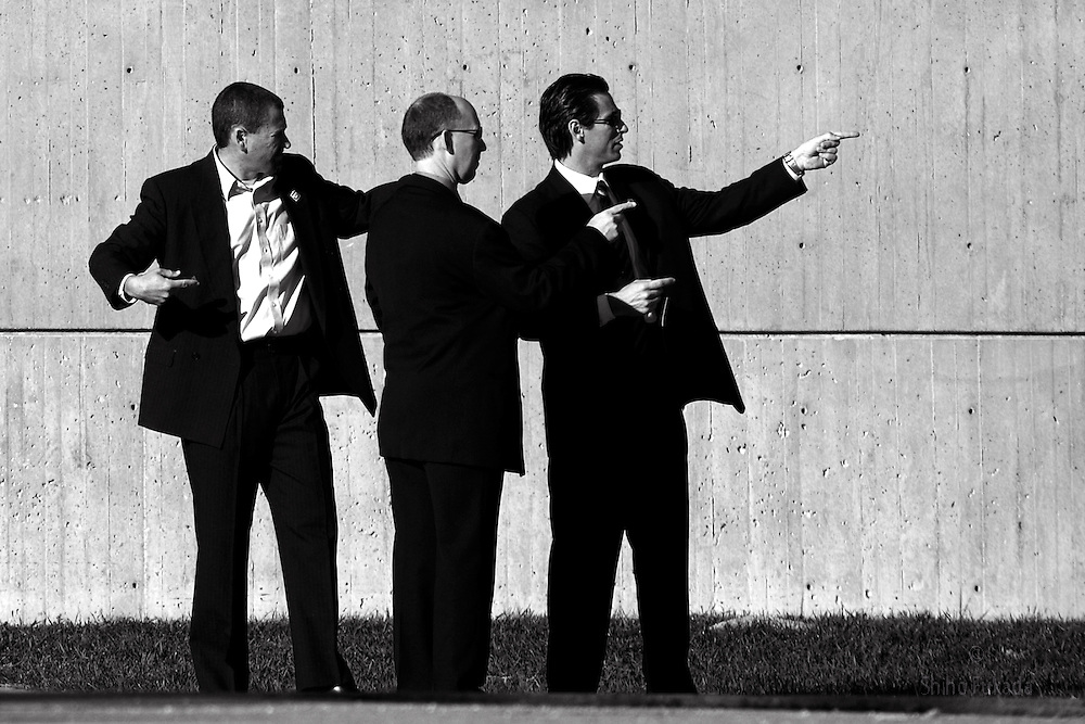 Members of Secret Service stand on guard at campaign venue in Iowa, USA.