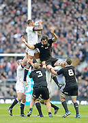 Twickenham, United Kingdom, England's Courtney LAWES out jumps Sam WHITLOCK, and catches the line out  ball,  during the 2013 QBE  AutumnRugby International, England vs New Zealand, played  Saturday  16/11/2013 at the RFU Stadium Twickenham,<br /> England. [Mandatory Credit: Peter Spurrier/Intersport<br /> Images}