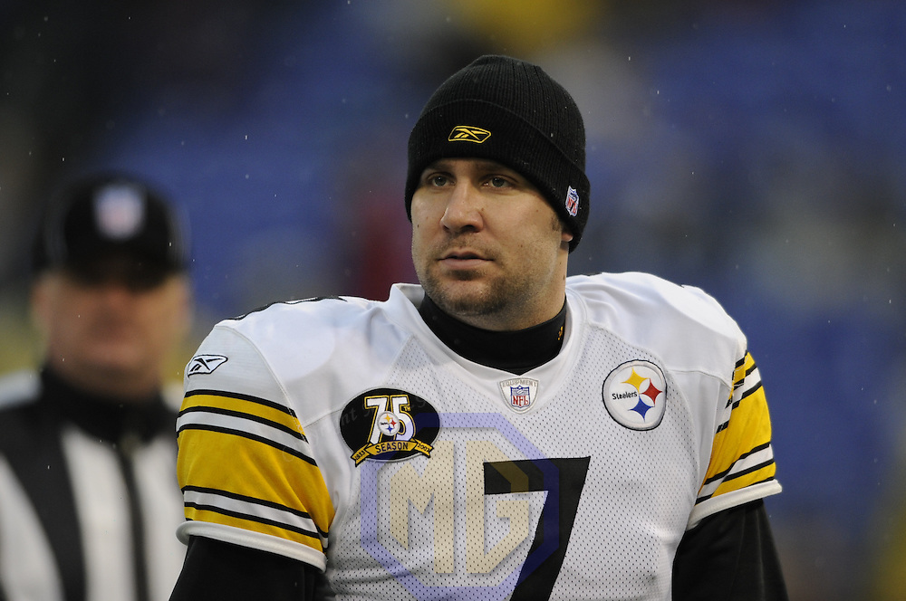 30 December 2007:  Pittsburgh Steelers quarterback Ben Roethlisberger (7) walks off the field in the rain after warming up prior to the game against the Baltimore Ravens on December 30, 2007 at M&T Bank Stadium in Baltimore, Maryland. The Ravens defeated the Steelers 27-21..
