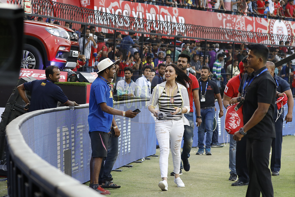 Preity Zinta owner of Kings XI Punjab distribute Tshirts during match 4 of the Vivo 2017 Indian Premier League between the Kings X1 Punjab and the rising Pune Supergiant held at the Holkar Cricket Stadium in Indore, India on the 8th April 2017<br /> <br /> Photo by Arjun Singh - IPL - Sportzpics
