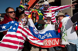 US and Slovenian fans enjoy the atmosphere ahead of the 2010 FIFA World Cup South Africa Group C match between Slovenia and USA at Ellis Park Stadium on June 18, 2010 in Johannesberg, South Africa. (Photo by Vid Ponikvar / Sportida)