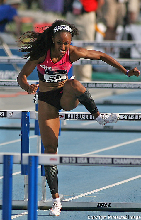 ROLLINS - 13USA, Des Moines, Ia. - Brianna Rollins winning the 100 hurdles.  Photo by David Peterson