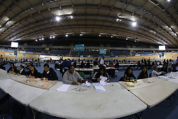 © Licensed to London News Pictures.LONDON UK<br /> 2014 Local,  Mayoral and European Elections.<br /> The Olympic Velodrome is the Official Counting Station for the London Borough of Newham. <br /> Photo credit : Andrew Baker/LNP