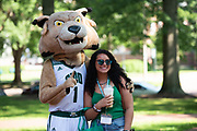 Jenson Nagy poses for a photo with Rufus at Bobcat Student Orientation. Photo by Ben Siegel