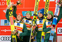 Winning team of Germany: Katharina Althaus of Germany, Anna Rupprecht of Germany, Carina Vogt of Germany and Juliane Seyfarth of Germany celebrate during Trophy ceremony after the Team Competition at Day 2 of World Cup Ski Jumping Ladies Ljubno 2019, on February 9, 2019 in Ljubno ob Savinji, Slovenia. Photo by Matic Ritonja / Sportida