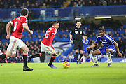 Jesse Lingard of Manchester United on the ball during the Barclays Premier League match between Chelsea and Manchester United at Stamford Bridge, London, England on 7 February 2016. Photo by Phil Duncan.