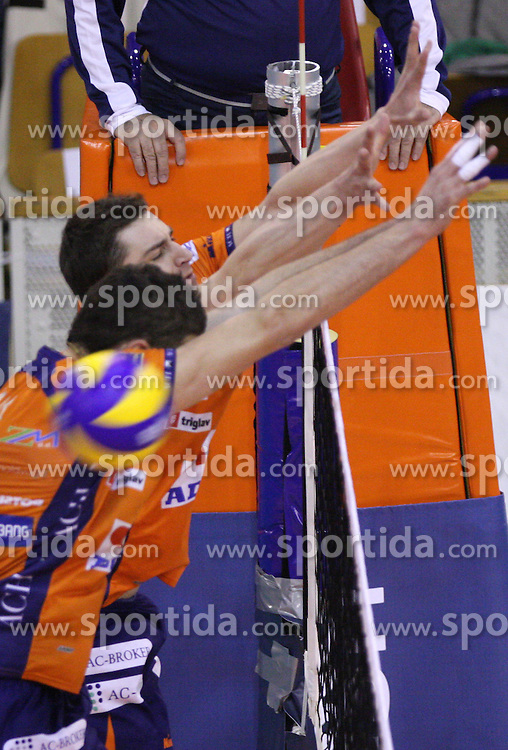 Block of Andrej Flajs and Alen Pajenk at 8th final volleyball match of CEV Indesit Champions League Men 2008/2009 between ACH Volley Bled (SLO) and Zenit Kazan (RUS), on February 12, 2009 in Hall Tivoli, Ljubljana, Slovenia. (Photo by Vid Ponikvar / Sportida)