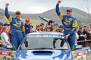 Cody Crocker & Greg Foletta .Podium .Motorsport-Rally.2003 NGK Rally of Melbourne.Yarra Valley, Victoria .5th of October 2003 .(C) Joel Strickland Photographics