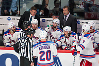 27 May 2014 New York Rangers Head Coach Alain Vigneault Talks with Referee Brad Watson 23 and Linesman Steve Barton 59 during Game Five of The Eastern Conference Final during The 2014 NHL Ice hockey men USA Stanley Cup Playoffs between The Montreal Canadians and The New York Rangers AT The Bell Centre in Montreal Quebec Canada NHL Ice hockey men USA May 27 Eastern Conference Final Rangers AT Canadiens Game 5 <br /> Norway only