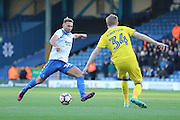 AFC Wimbledon defender Chris Robertson (34) and Bury FC striker Hallam Hope (24) during the The Emirates FA Cup 1st Round match between Bury and AFC Wimbledon at the JD Stadium, Bury, England on 5 November 2016. Photo by Stuart Butcher.