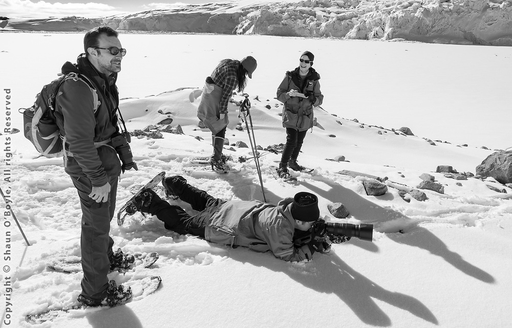 Snowshoeing along Arthur Harbor and the Marr Peidmont with Mike Lucibella, editior of the Antarctic Sun newspaper; Keri Nelson, Palmer Station administrator; Valentine Kass, head of the NSF Antarctic Artists and Writers Program; and (lying down) Ralph Maestas, ASC (Antarctic Service Contract) videographer.