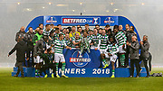Celtic players celebrate lifting the Betfred Cup following their victory during the Betfred Cup Final between Celtic and Aberdeen at Celtic Park, Glasgow, Scotland on 2 December 2018.