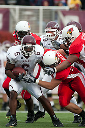 04 November 2006: Adam Blankenship wraps up Gerald Davis. In a decisive victory, the Illinois State Redbirds defeat the Missouri State Bears 38-14 at Hancock Stadium on the campus of Illinois State University in Normal Illinois.<br />
