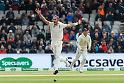 Stuart Broad of England unsuccessfully appeals for an lbw against David Warner of Australia during the International Test Match 2019, fourth test, day one match between England and Australia at Old Trafford, Manchester, England on 4 September 2019.