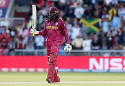 West Indies Chris Gayle reaches his 50 during the ICC Cricket World Cup group stage match at Old Trafford, Manchester.