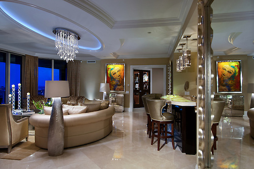 Condominium Living Room In The Ritz Carlton Residences At Singer Island,  Florida, Photographed